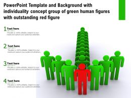Powerpoint Template With Individuality Concept Group Of Green Human Figures With Outstanding Red Figure