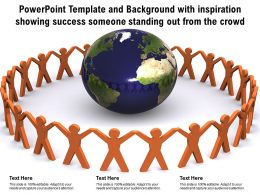 Powerpoint Template With Inspiration Showing Success Someone Standing Out From The Crowd
