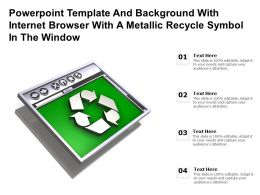 Powerpoint Template With Internet Browser With A Metallic Recycle Symbol In The Window