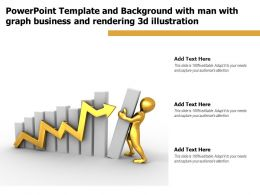 Powerpoint Template With Man With Graph Business And Rendering 3d Illustration