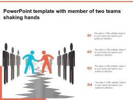 Powerpoint Template With Member Of Two Teams Shaking Hands