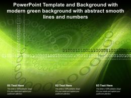Powerpoint Template With Modern Green Background With Abstract Smooth Lines And Numbers