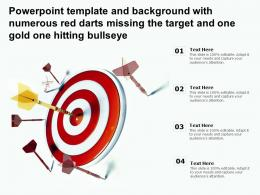 Powerpoint Template With Numerous Red Darts Missing The Target And One Gold One Hitting Bullseye
