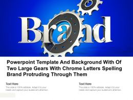 Powerpoint Template With Of Two Large Gears With Chrome Letters Spelling Brand Protruding Through Them