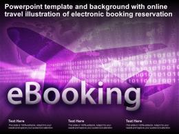 Powerpoint Template With Online Travel Illustration Of Electronic Booking Reservation