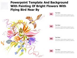 Powerpoint Template With Painting Of Bright Flowers With Flying Bird Near By
