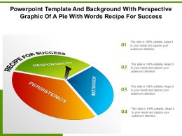 Powerpoint Template With Perspective Graphic Of A Pie With Words Recipe For Success