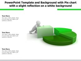 Powerpoint Template With Pie Chart With A Slight Reflection On A White Background