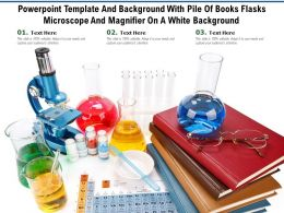 Powerpoint Template With Pile Of Books Flasks Microscope And Magnifier On A White Background