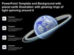 Powerpoint Template With Planet Earth Illustration With Glowing Rings Of Light Spinning Around It