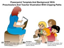 Powerpoint Template With Preschoolers And Teacher Illustration With Clipping Paths