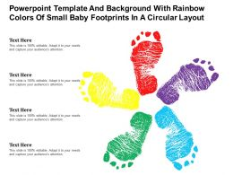 Powerpoint Template With Rainbow Colors Of Small Baby Footprints In A Circular Layout