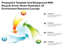 Powerpoint Template With Recycle Arrow Vector Illustration Of Environment Resource Concept