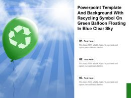 Powerpoint Template With Recycling Symbol On Green Balloon Floating In Blue Clear Sky