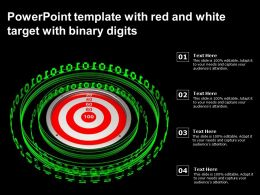 Powerpoint Template With Red And White Target With Binary Digits