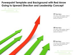 Powerpoint Template with Red Arrow Going to Upward Direction and Leadership Concept