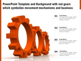 Powerpoint Template With Red Gears Which Symbolize Movement Mechanisms And Business