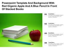 Powerpoint Template With Red Organic Apple And A Blue Pencil In Front Of Stacked Books