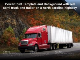 Powerpoint Template With Red Semi Truck And Trailer On A North Carolina Highway