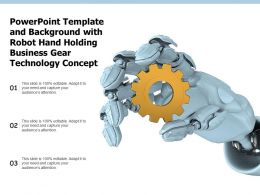 Powerpoint Template With Robot Hand Holding Business Gear Technology Concept