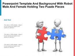 Powerpoint Template With Robot Male And Female Holding Two Puzzle Pieces