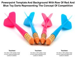 Powerpoint Template With Row Of Red And Blue Toy Darts Representing The Concept Of Competition