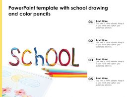 Powerpoint Template With School Drawing And Color Pencils