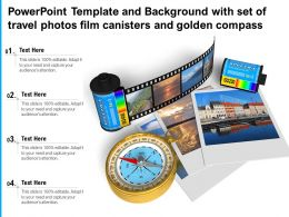 Powerpoint Template With Set Of Travel Photos Film Canisters And Golden Compass
