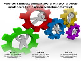 Powerpoint Template With Several People Inside Gears Turn In Unison Symbolizing Teamwork