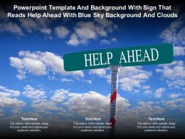 Powerpoint Template With Sign That Reads Help Ahead With Blue Sky Background And Clouds