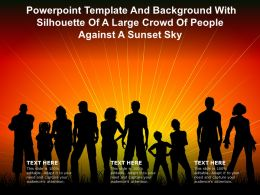 Powerpoint Template With Silhouette Of A Large Crowd Of People Against A Sunset Sky