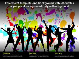 Powerpoint Template With Silhouettes Of People Dancing On Retro Styled Background