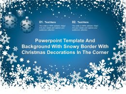 Powerpoint Template With Snowy Border With Christmas Decorations In The Corner