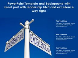 Powerpoint Template With Street Post With Leadership Blvd And Excellence Way Signs