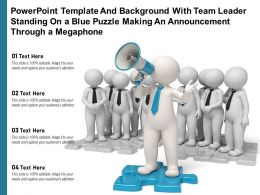 Powerpoint Template With Team Leader Standing On A Blue Puzzle Making An Announcement Through A Megaphone