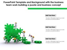 Powerpoint Template With The Business Team Work Building A Puzzle And Business Concept