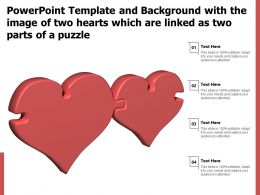 Powerpoint Template With The Image Of Two Hearts Which Are Linked As Two Parts Of A Puzzle