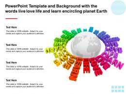 Powerpoint Template With The Words Live Love Life And Learn Encircling Planet Earth