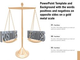 Powerpoint Template With The Words Positives And Negatives On Opposite Sides On A Gold Metal Scale