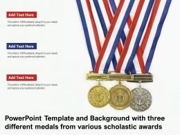 Powerpoint Template With Three Different Medals From Various Scholastic Awards