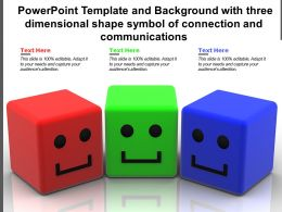Powerpoint Template With Three Dimensional Shape Symbol Of Global Connection And Communications