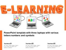Powerpoint Template With Three Laptops With Various Letters Numbers And Symbols