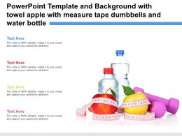 Powerpoint Template With Towel Apple With Measure Tape Dumbbells And Water Bottle