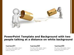 Powerpoint Template With Two People Talking At A Distance On White Background