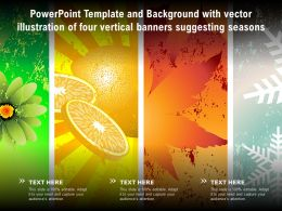 Powerpoint Template With Vector Illustration Of Four Vertical Banners Suggesting Seasons