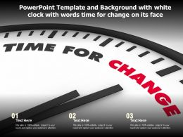 Powerpoint Template With White Clock With Words Time For Change On Its Face