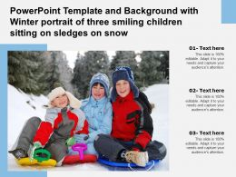 Powerpoint Template With Winter Portrait Of Three Smiling Children Sitting On Sledges On Snow
