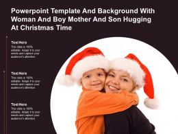 Powerpoint Template With Woman And Boy Mother And Son Hugging At Christmas Time