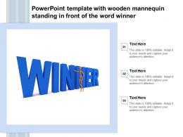 Powerpoint Template With Wooden Mannequin Standing In Front Of The Word Winner