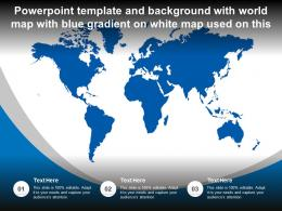 Powerpoint Template With World Map With Blue Gradient On White Map Used On This